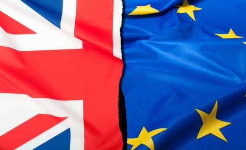 Brexit, United Kingdom flag and European Union flag