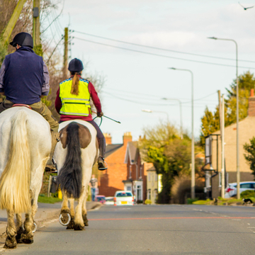 Two people riding their horse down the road.