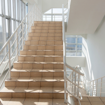 A staircase in an office building.
